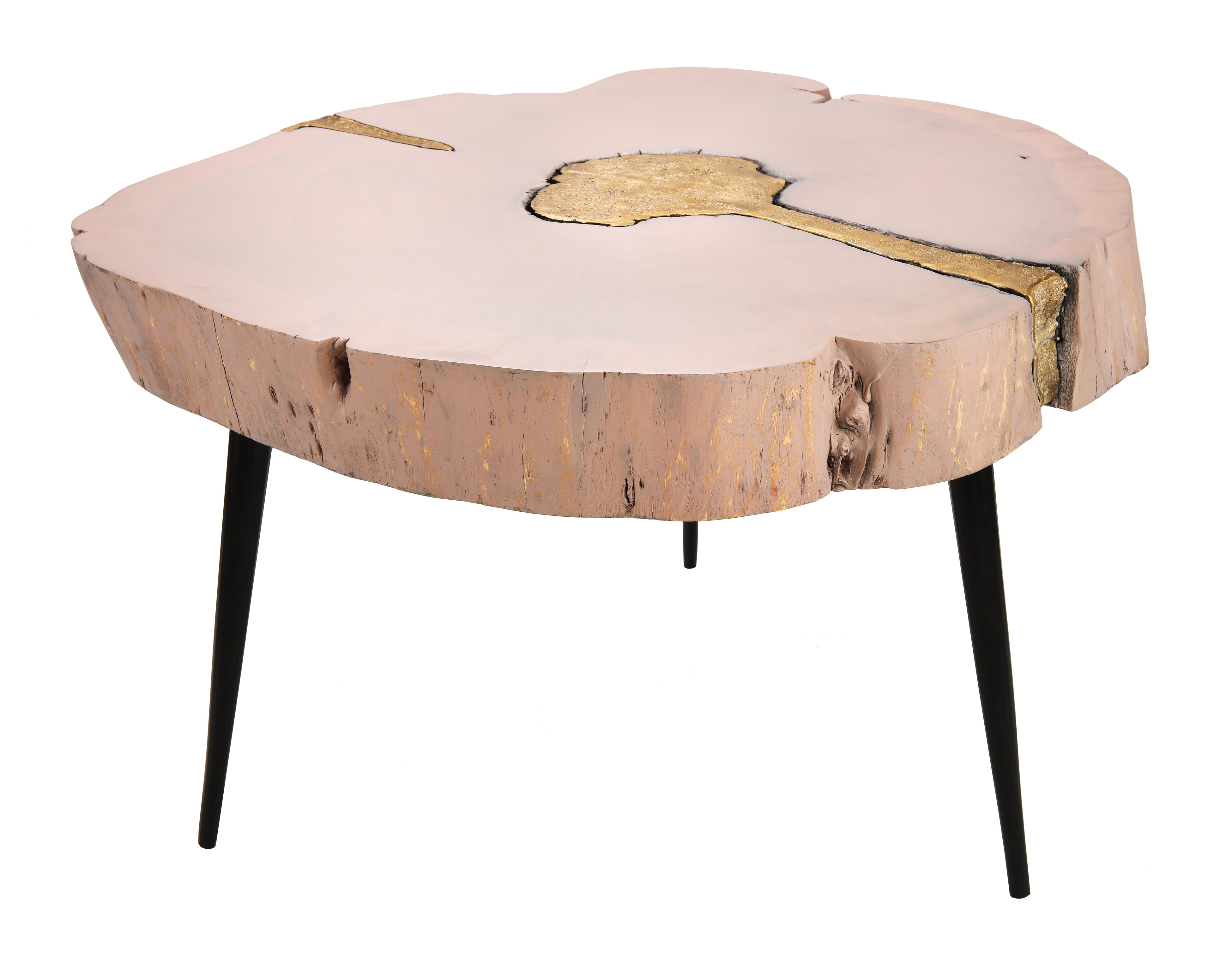 - Timber Pink And Brass Coffee Table - Le Monarch Design